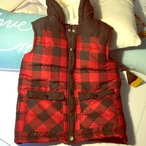Boys plaid flannel lined hooded vest